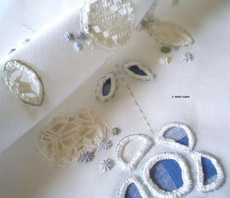 Embroidery and cutwork inspired by 'my grandmothers tablecloth'