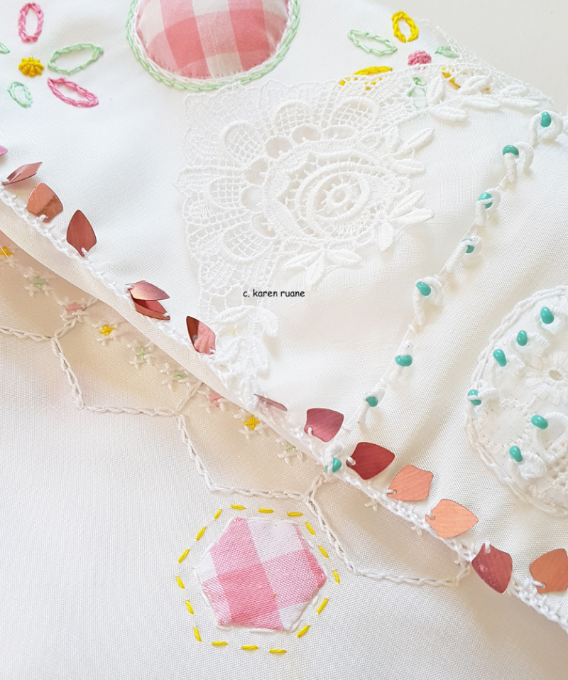 Embroidered  sequin edge