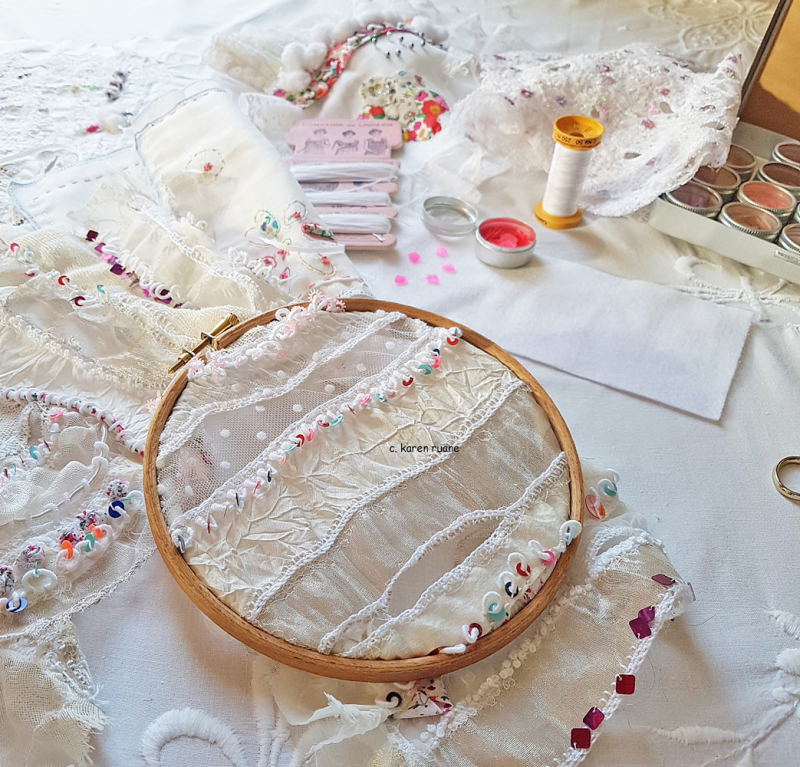 Lace cloth and sequins 2
