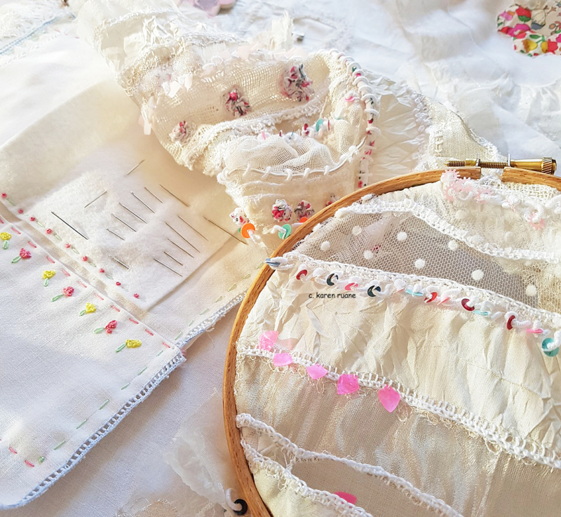 Lace cloth and sequins 5